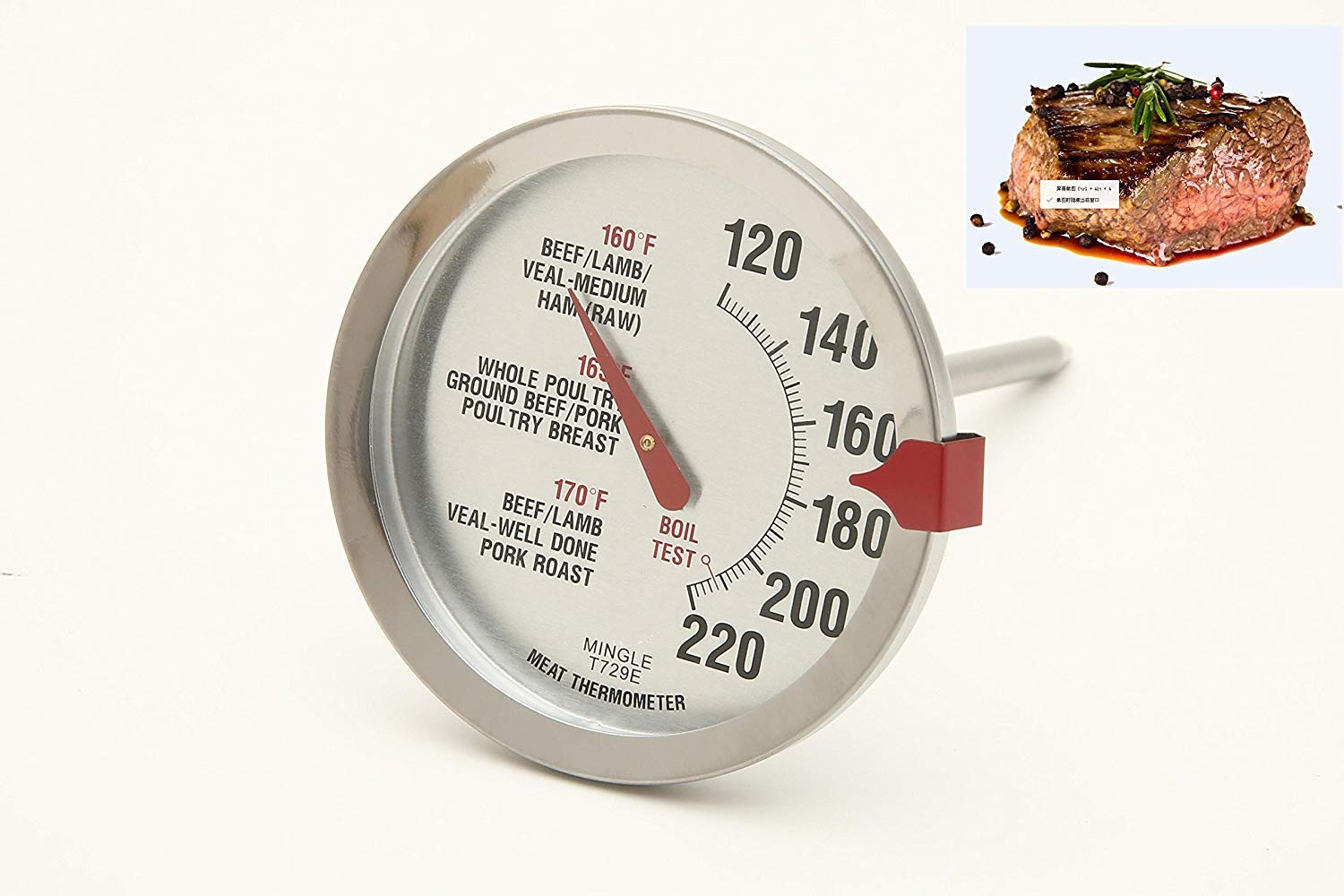 SINARDO Roasting Meat Thermometer T729E Oven Safe Stainless Steel Stem and Housing Large 2.5-Inch Easy-Read Face