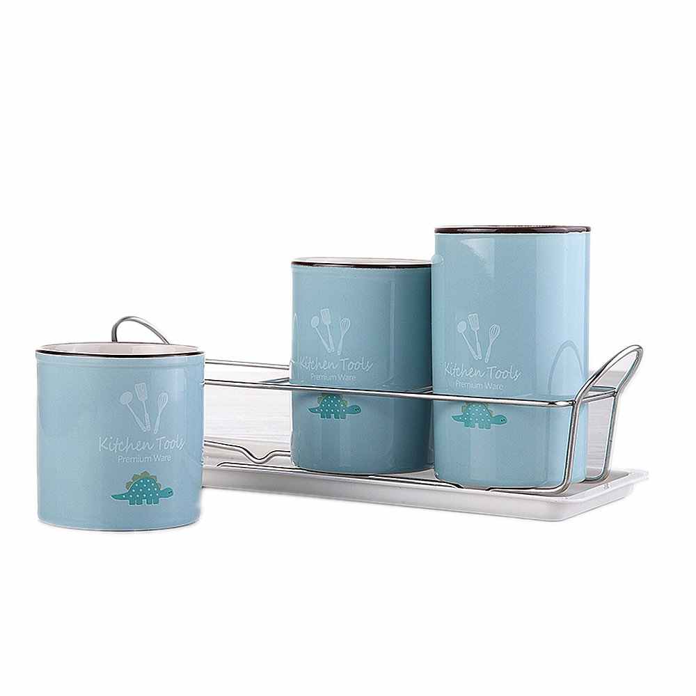 Huayoung Set of 5pcs Flatware Caddy-3 Ceramic Cups & 1 Stainless Steel Rack & 1 Plastic Tray-Perfect Kitchen Flatware Organizer (Blue)