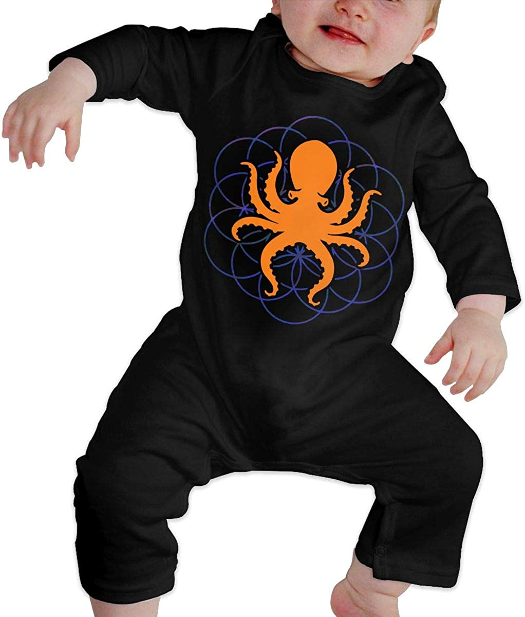 YELTY6F Psychedelic Sacred Geometry Octopus-2 Printed Newborn Baby One-Piece Suit Long Sleeve Pajamas Black