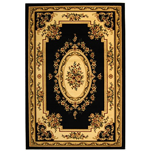 Safavieh Lyndhurst Collection LNH218A Traditional European Black and Ivory Area Rug (8' x ()
