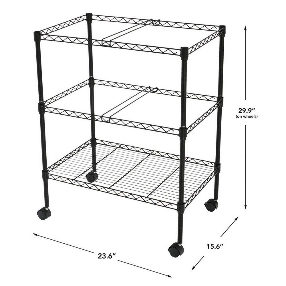 2-Tier Portable Metal Rolling Mobile File Cart,Folder Portable One-Shelf Folder Mesh Organizer Cart Wheels Black