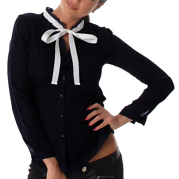 buy online 8d8e2 9fc46 blusa camicia donna con fiocco nastro a contrasto voile ...