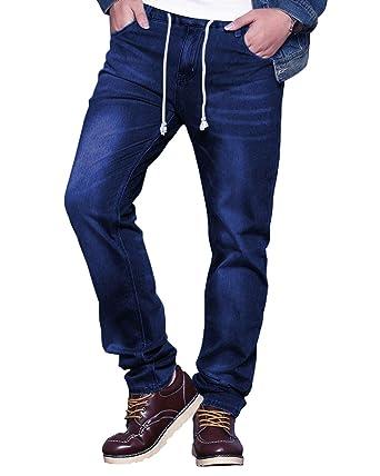d822ab19 HEMIKS Men's Comfy Stretch Drawstring Elastic Waist Regular Fit Denim Jeans  Pants Light Blue (Deep