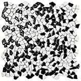 SomerTile Fxljzbw Lio Ceramic Mosaic Floor and Wall Tile, 11.25'' x 11.25'', Black/White