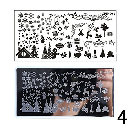 Gracefulvara Nail Art Stamping Plates, Christmas Trees Reindeer Santa Claus Snowflake, Halloween Pumpkin Skull Ghost 4# -