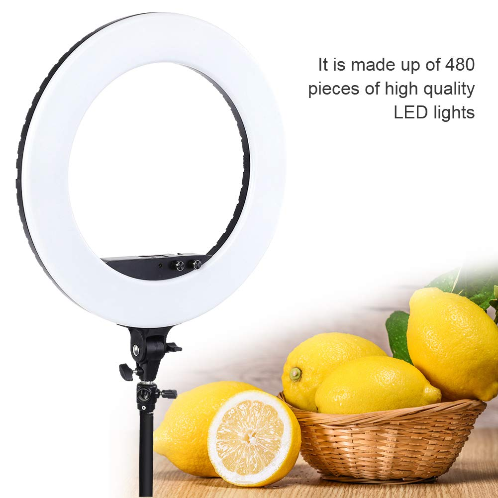 fosa Selfie Ring Light Mini 480LED Ring Shape Cell Pone Fill Light with Cell Phone Clip Portable Strap Carrying Bag Supplement Selfie Video Lamp for Live Stream Makeup LR-980A by fosa (Image #5)