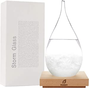 F FOXKEY Storm Glass Weather Station Cloud Storm Crystal Weather Forecast Bottle with Wooden Base Creative Stylish Decorative Desktop Weather Predictor Water Drops for Home and Office(Large)