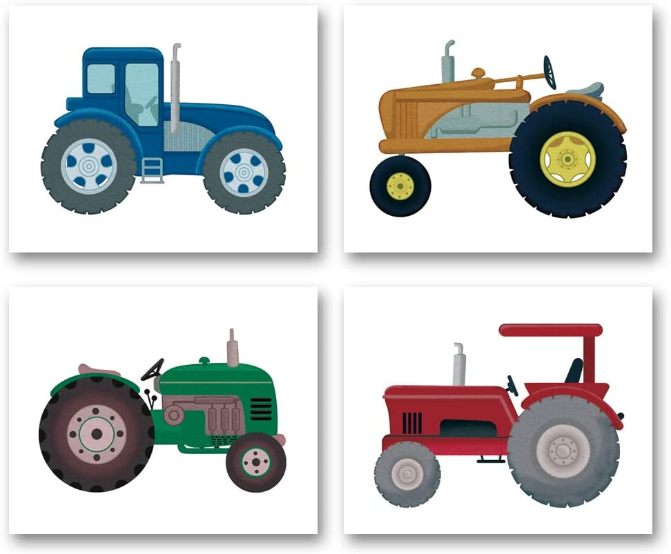 """Boys Truck Tractor Art Print- Watercolor Construction Vehicle Canvas Wall Art-(8""""X10""""X4 pieces, Unframed)-Perfect for Kids Bedroom Playroom Decoration"""