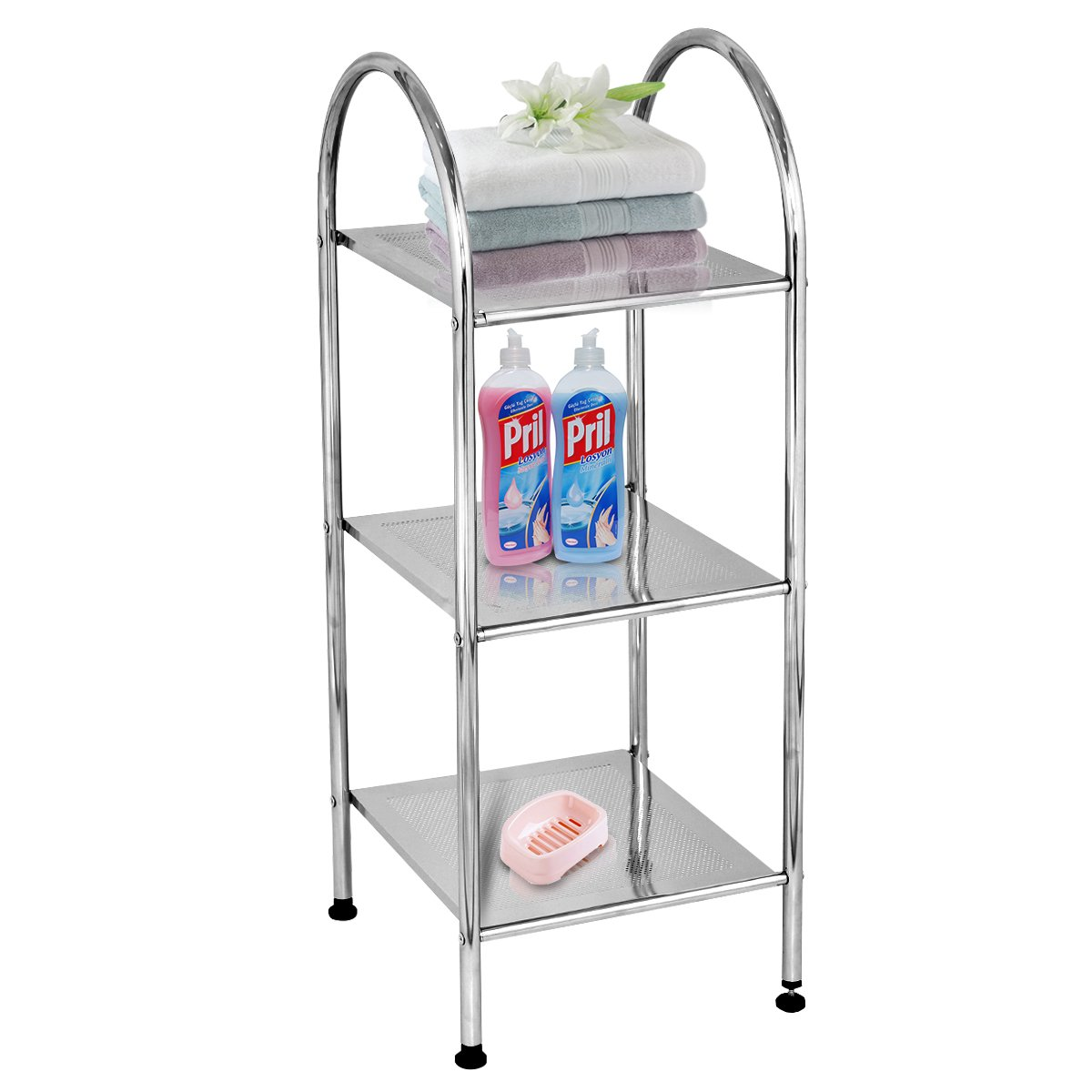 Costway 3 Tier Metal Storage Shelf Steel Stand W/Adjustable Feet Multi Purpose Rack Suitable for Garage Bathroom Kitchen Office Home (Silver)