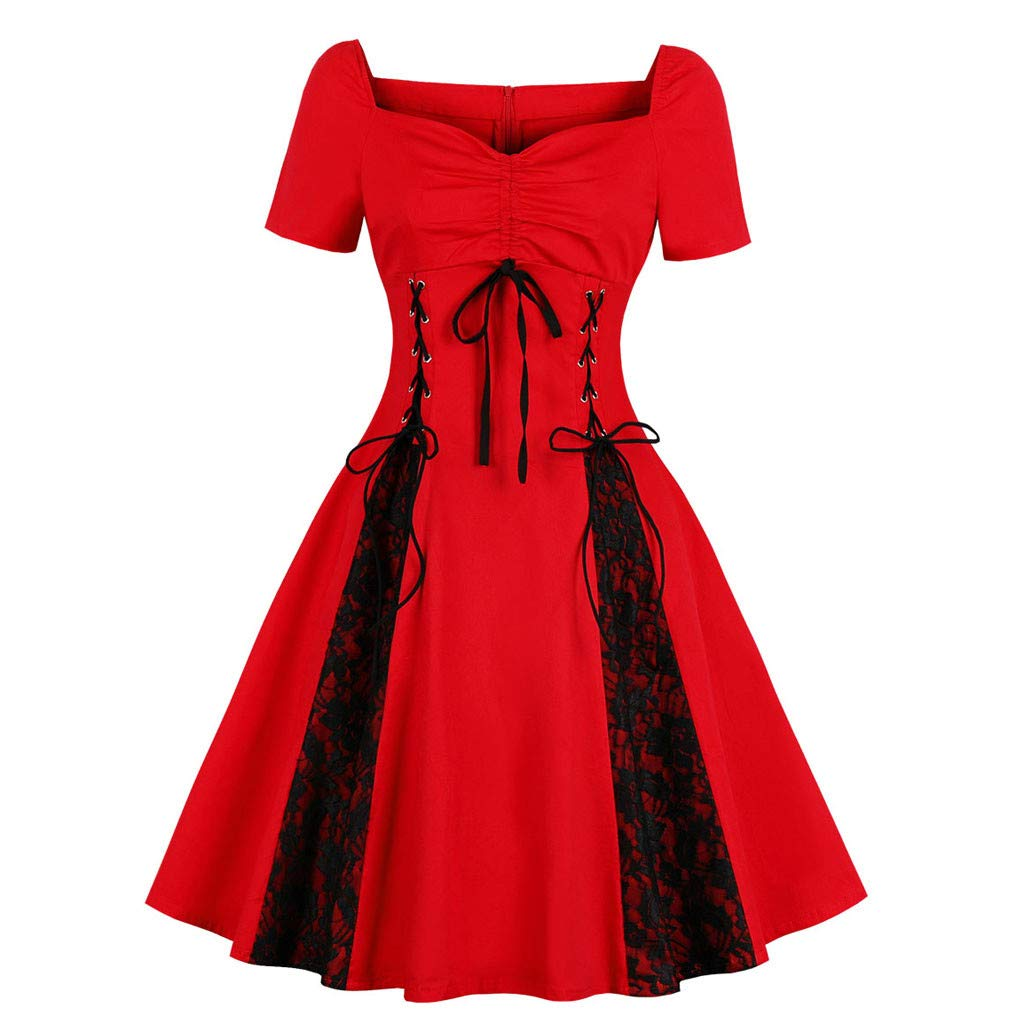 Reokoou Women's Gothic Lace Lace Strapless Retro Dress Red