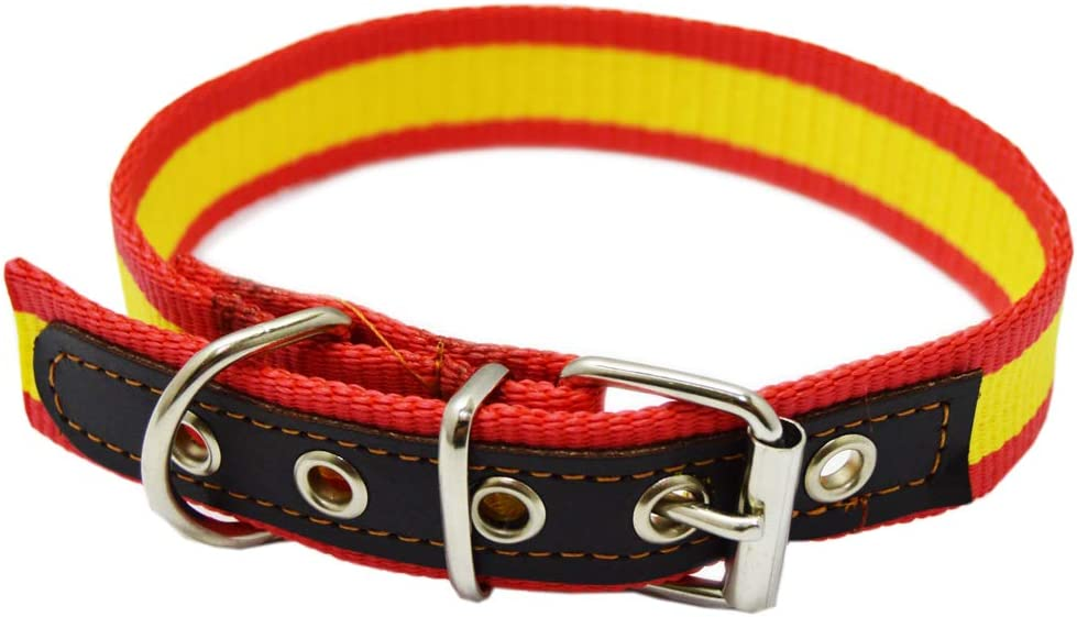 ALBERO Collar Cinta Bandera de España para Perro Reforzada en Piel ...