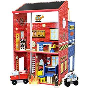 Click N' Play Wooden Police & Fire Station Playset
