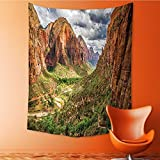 AmaPark Wall Tapestry Home Decor Utah Plateau Mojave Desert Southwest Erosion Navajo Artprint Brown Green Tapestries for dorms 40W x 60L Inch