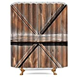 78 inch metal door - Riyidecor Wooden Barn Door Texas Shower Curtain 72x78 Inch Free Metal Hooks 12 -Pack Farmhouse Western Country Rustic Decor Fabric Bathroom Set