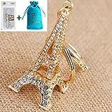 Bolbove Small Eiffel Tower Keychain Sparkling Keyring Crystal Rhinestones Purse Pendant Handbag Charm