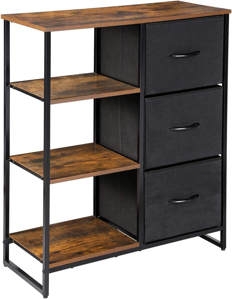 Kamiler Fabric Storage Cabinet with Drawers and Shelves, Dresser Organizer Furniture,Rustic for Bedroom/Entryway/Hallway/Living Room/Kitchen