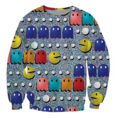 Unisex 80s classic PacMan Funny Sweatshirt. Sizes from Small to X-Large