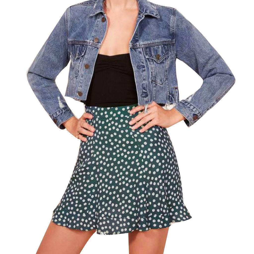 ZOMUSAR Now Women's Printed Bandage Mini Skirt Wrap Short Beach Party Summer Skirts for Ladies Green