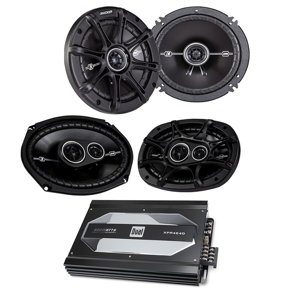 Kicker 41DSC6934 6''x9'' 3-way speakers + Kicker 41DSC654 6-1/2'' 2-way speakers + Dual XPA4640 4-channel car amplifier — 50 watts RMS x 4