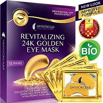 Under Eye Mask Gold Eye Mask Anti-Aging Hyaluronic Acid 24k Gold Eye Patches Under Eye Pads for Moisturizing & Reducing Dark Circles Puffiness Wrinkles