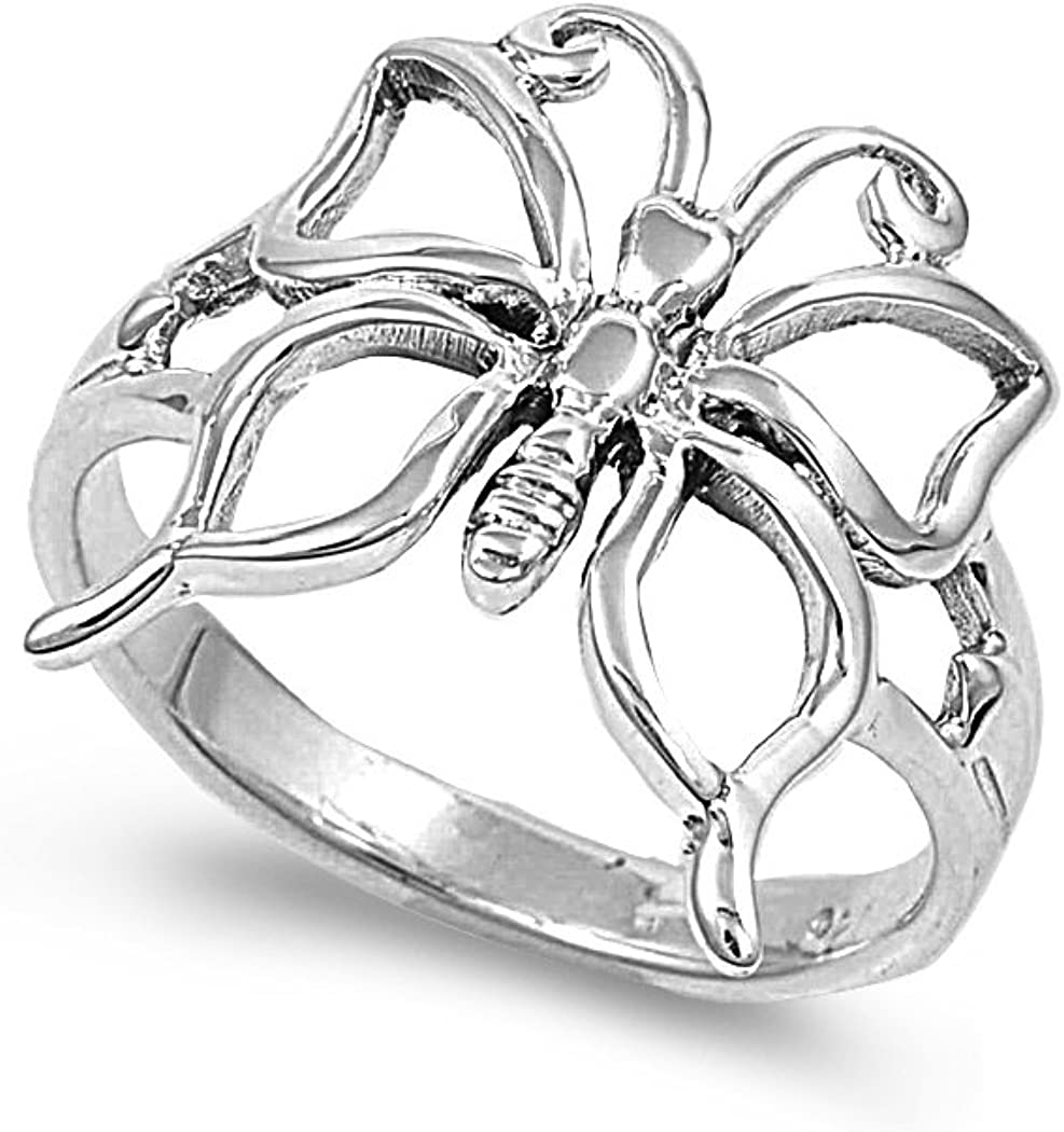Princess Kylie 925 Sterling Silver Simple Butterfly Design Ring