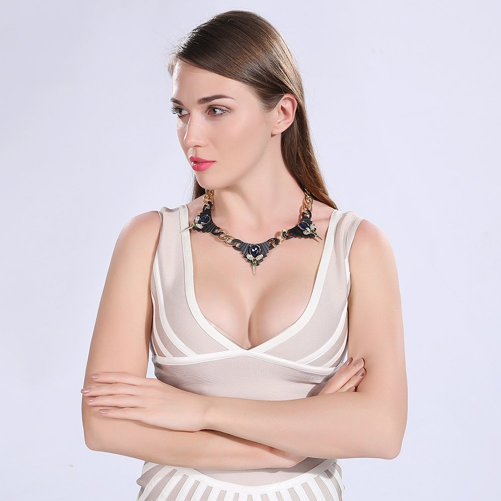 myazs8580 Charm Vintage Women Pendant Chain Crystal Choker Chunky Collar Necklace FSN216