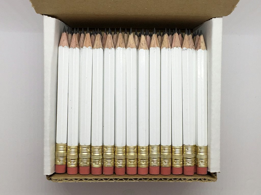 Half Pencils with Eraser - Golf, Classroom, Pew, Short, Mini, Non Toxic- Hexagon, Sharpened, 2 Pencil, Color - White, Box of 72, Pocket PencilsTM by Express Pencils