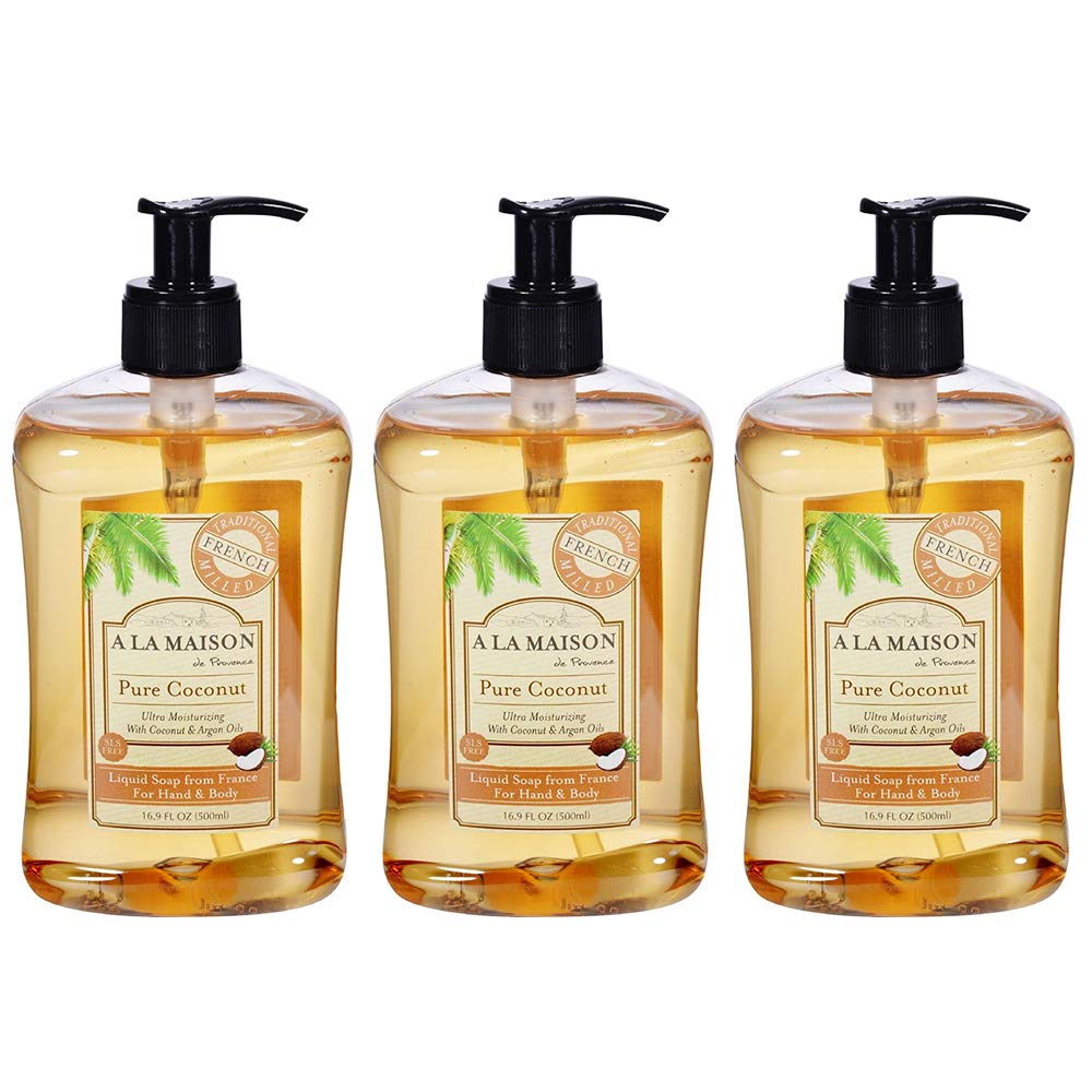 A La Maison Pure Coconut French Liquid Soap 16.9 Ounce Pack of 3