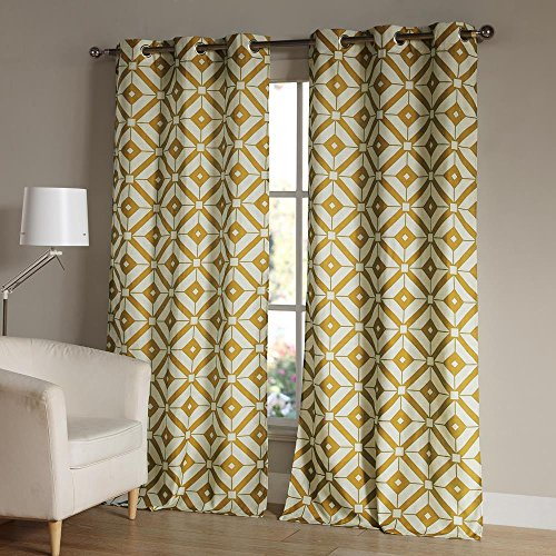 Duck River Textiles MCQMD=12/4330 2 Piece Mckenna Linen Jacq Grommet Pair Panel, 38×84, Mustard Review