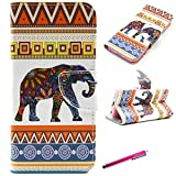 iPhone 5S Case, JCmax Flip Book Style Flip Slim PU Leather Wallet Case Cover [Kickstand] and Built in Card Slots for Apple iPhone 5 5S 5G [Elephant Pattern Design]
