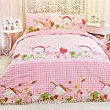 MeMoreCool Home Textile Sweet Little Girl Design 100% Thicken Brushed Upscale Cotton Pink 3 Pieces Bedding Set Comfortable Quilt Covers Soft Bed Sheets Twin Size