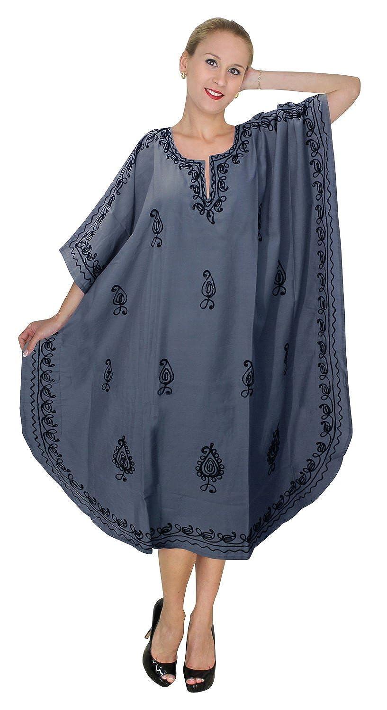 LA LEELA Women's Long Kaftan Ladies Kimono Maxi Dress Lightweight Tunic Nightwear Everning Loungewear Maternitywear Summer Beach Sleep Caftan *LA LEELA 121723