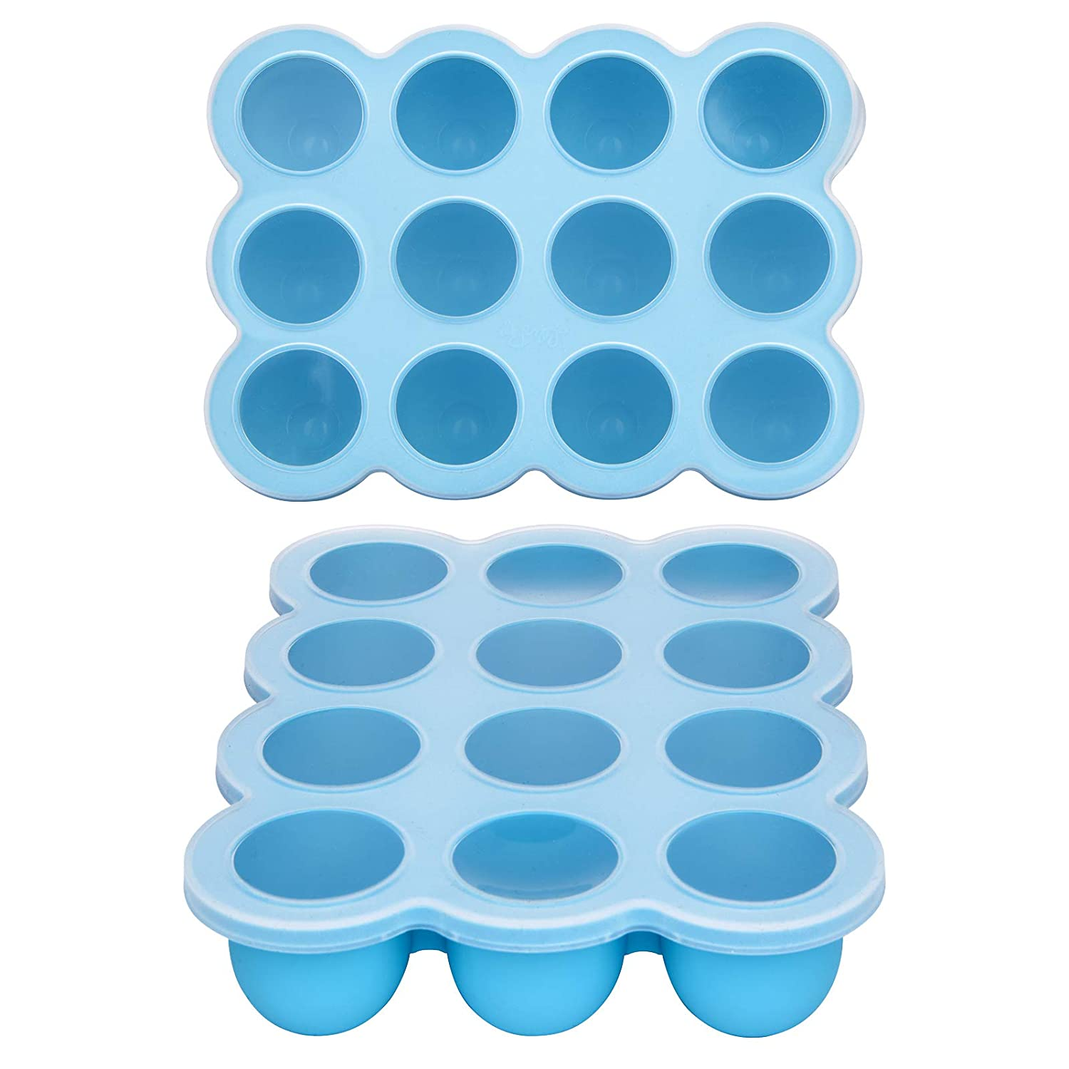 Baby Food Storage Container - 12 Cup Silicone Freezer Tray with Lid,Food Grade Silicone,Perfect Food Container for Homemade Baby Food,Fruit Purees&Vegetables(Blue)