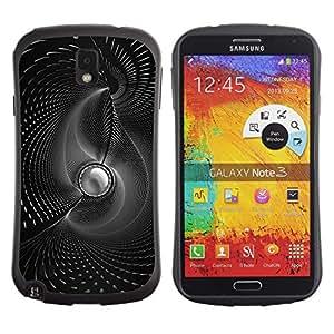 LECELL -- Funda protectora / Cubierta / Piel For Samsung Galaxy Note 3 N9000 N9002 N9005 -- B & W Abstract Swirls --