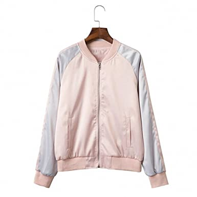 Lady Satin Embroidery Bomber Jacket Women Pink Silver Peacock Rose souvenir jacket coat at Amazon Womens Clothing store: