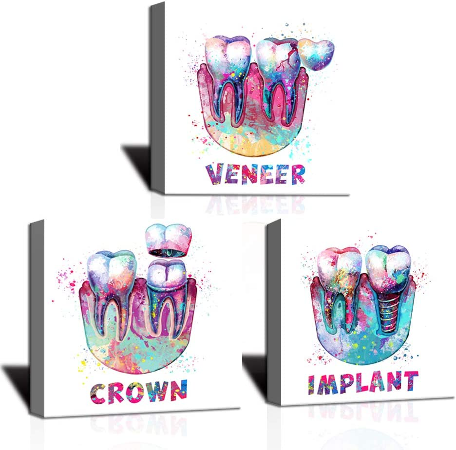 KLVOS Medical Wall Art Print Abstract Colorful Tooth Picture Dental Treatment Teeth Medical Canvas Prints Art Decor Great Gift for Dental Clinic Hospital Chemist Stretched Ready to Hang 12
