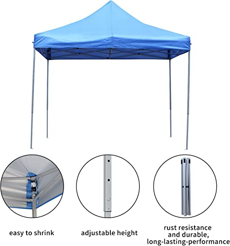 DOIT 10ft x 10ft Outdoor Portable Pop Up Shade Instant Folding Canopy,Party Tent,Height Adjustment,Sturdy High Grade Steel Frame,Portable Wheeled Carrying Bag,Blue