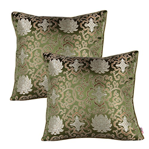 (Queenie® - 2 Pcs Silky Decorative Embroidered Chinese/oriental Pillowcase Series Ii Cushion Cover for Sofa Throw Pillow Case 16 X 16 Inch 40 X 40 Cm (CS18 Color Green))
