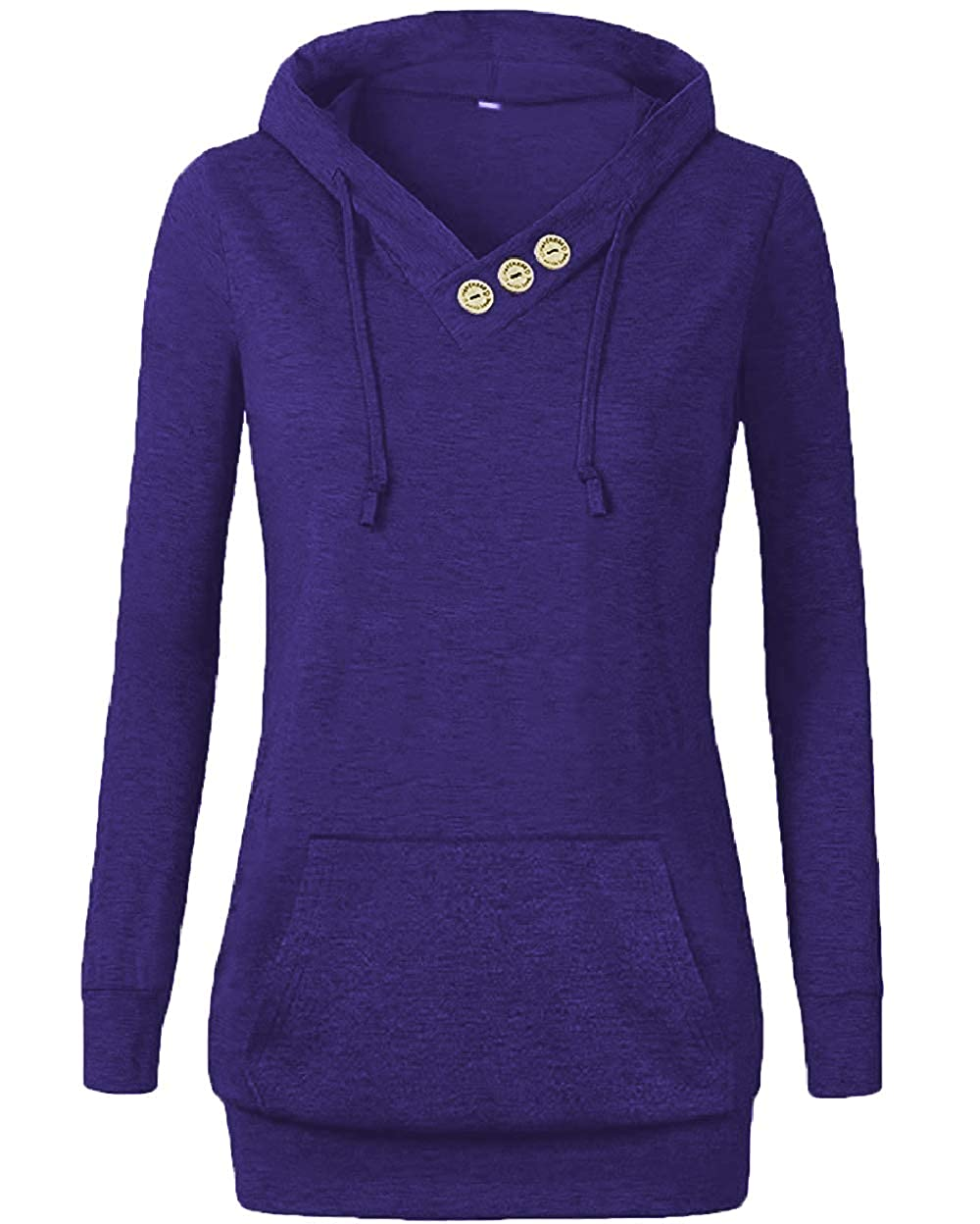Othyroce Womens Long Sleeve Button V-Neck Hoodies Pullover Sweatshirts with Pockets