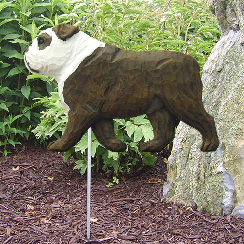 English Bulldog Outdoor Garden Dog Sign Hand Painted Figure Garden Stake PGLJN (Brindle/White)