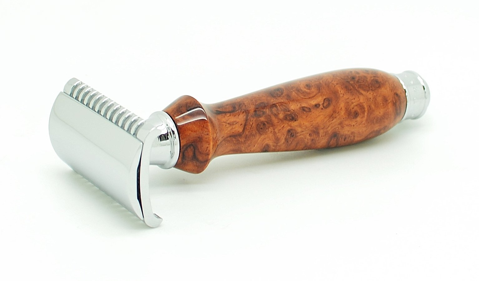 ORCHID ISLE~Double Edge Safety Razor *Open Comb* DE-PRL~USA Handmade with~ Gallery Grade Southeast Asian Amboyna Burl *864