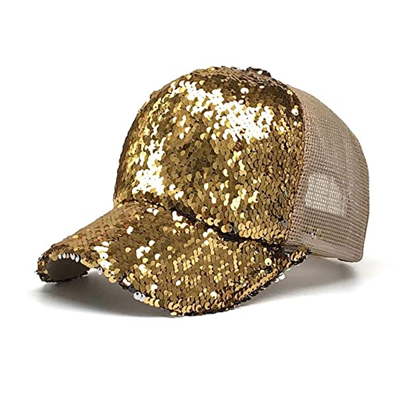 YUANBAOG Glitter Cola de Caballo Gorra de béisbol Mujeres Hip Hop ...