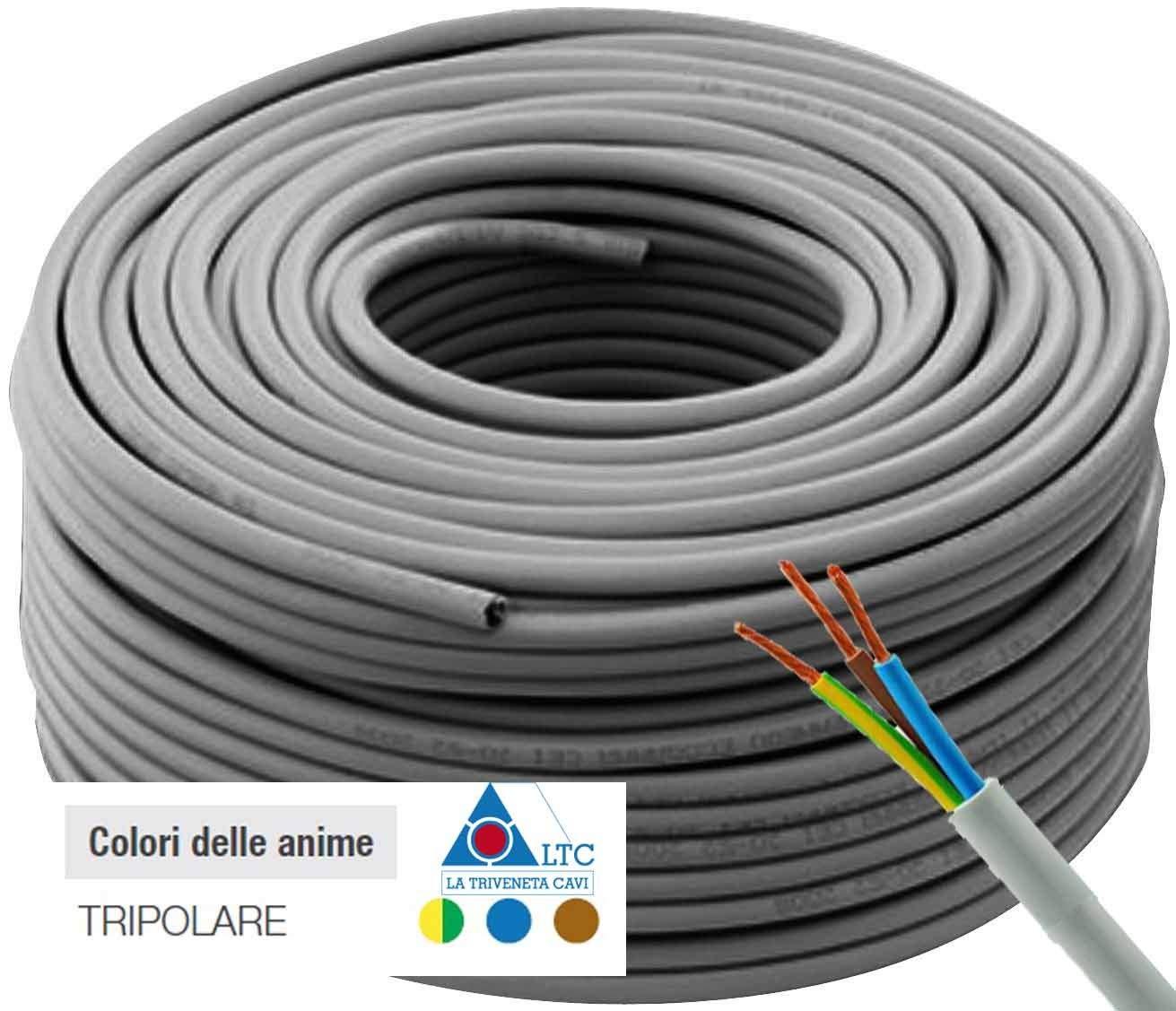 triveneta Cable El/éctrico tripolar Alambre de Cobre 3/x 2,5/mm LTC fror para Instalaci/ón casa 100/Metros