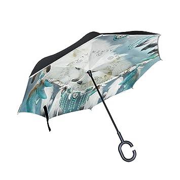 jstel doble capa invertida Atrapasueños lobo paraguas coches Reverse resistente al viento lluvia paraguas para coche