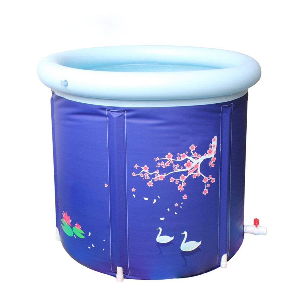GAIXIA Thicken Increase Folding Bath Barrel Bath Barrel Inflatable Bathtub Inflatable Bathtub (Color : Blue, Size : 75x70cm)