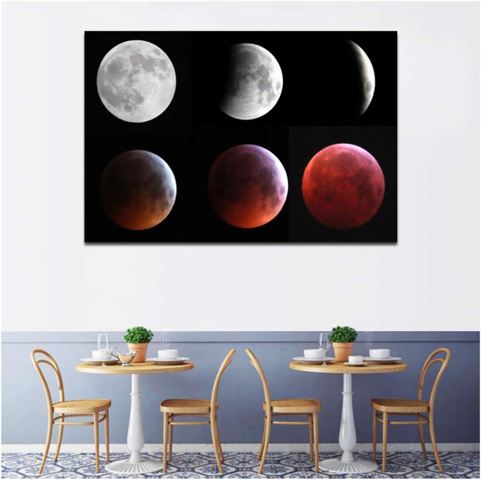 Impresiones en lienzo Pinturas Eclipse de luna Cuadros de pared abstractos modernos para la decoración del hogar de la sala de estar 60x80cm Con marco rojo