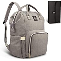 Pipi bear Nappy Changing Bag, Multi-Functional Waterproof Travel Diaper Bag Backpack with Changing Pad (Linen Gray)