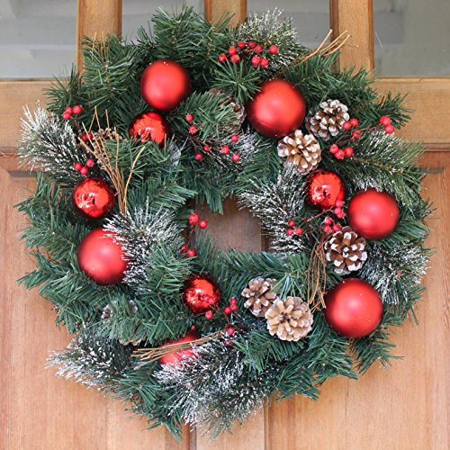 Whitehall Decorated Christmas Wreath 22 Inch - All Weather Outdoor Christmas Wreath That Lasts For Years, Elegant Designer Quality Transforms Your Front Door, Beautiful White Gift Box And Hanging Loop Christmas Wreaths