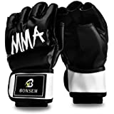 Half-finger MMA Boxing Fight Gloves With Velcro Wrist Band Thick Padding for Punching Heavy Bag Kickboxing Class Muay Thai Martial Arts Trainer Mitts