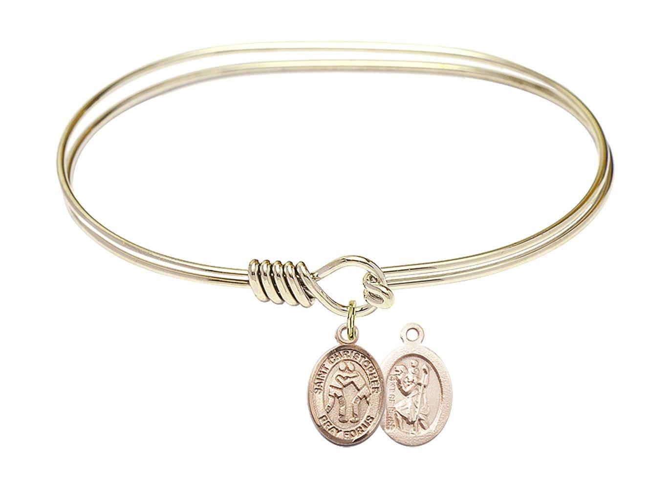 St. Christopher Wrestling Charm On A 7 Inch Oval Eye Hook Bangle Bracelet by Catholic Saint Medals